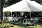 30 x 45 high peak pole tent rentals in Haverhill, Lawrence, Amesbury, West Newbury, Northern Massachusetts and New Hampshire